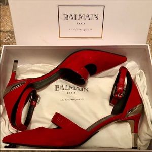 Balmain Shoes - Red Balmain Logo Heels